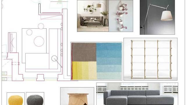První cesta dispozičního a barevného a materiálového řešení obývacího pokoje.