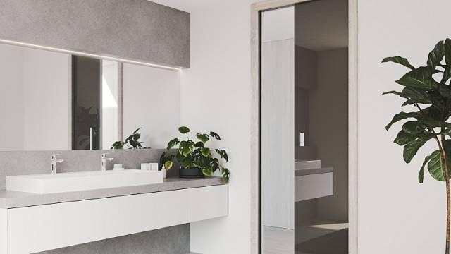Pokud vkoupelně zasouvací dveře do stavebního pouzdra Profikit standard, pak na stěnu, kterou nahrazuje kapsa pouzdra, nelze ukotvit nábytek. Nicméně využít se dá hned sousedící zeď, cena stavebního pouzdra od 8665 Kč.