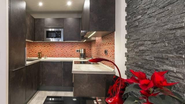 Kuchyně poskládaná do tvaru písmene U vynikne i v panelovém bytě.