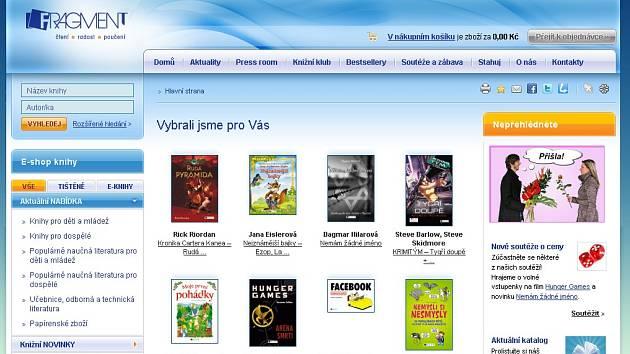 Homepage webových stránek nakladatelství Fragment.