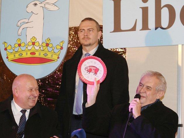 Miloš Zeman při návštěvě Libochovic a Štětí