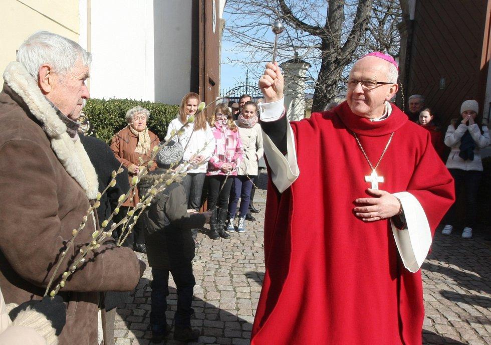 Desítky věřících se sešly na nádvoří biskupské rezidence v Litoměřicích, aby společně oslavili Květnou neděli, 2016