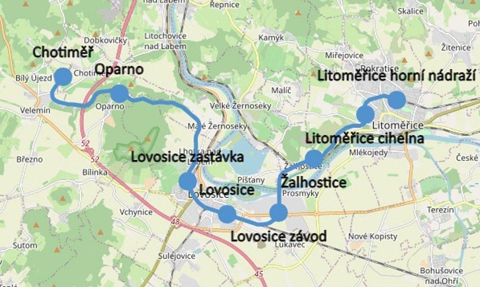 Mapa trasy Oparenského expresu
