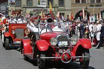 Litoměřice, hasičské slavnosti 2017, sobota, slavnostní nástup jednotek a praporů, přehlídka techniky a jednotek