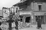 Nerudova ulice po bombardování
