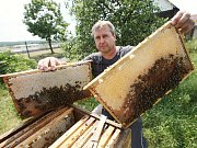 Včelař Jaromír Maleček z Račic odebírá z jednotlivých úlů rámky plné medu ke zpracování.