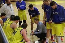 Basketbalový zápas mezi Litoměřicemi a Prostějovem, nadstavba A1 1. ligy 2018/2019, basketbalisté Litoměřic ilustrační