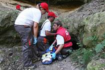 Cvičení Červeného kříže v Mentaurově.
