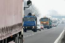 Dopravní situace u Lovosic - pátek 22. ledna.