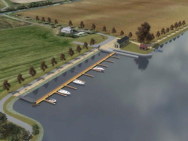 ZÁLIV. Koryto řeky je u Malých Žernosek užší, projekt proto počítá s vybudováním zálivu. Návrh přístaviště vytvořil architekt Patrik Kotas, stejně jako například v Lovosicích. Spolupracoval s Ondřejem Tomkem.