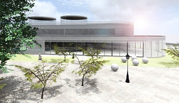 Vizualizace možné podoby objektu Ústavu technického vzdělávání vLitoměřicích zpracovaná architektem Jakubem Pleyerem