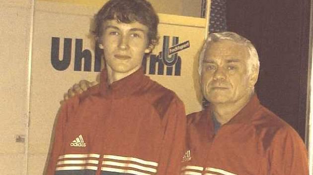 Michal Čupr (vlevo) se svým trenérem Jiřím Suchým