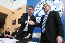 Slavnostní podpis smlouvy o partnerské spolupráci mezi HC Stadion Litoměřice a HC Sparta Praha v Kalich Areně.