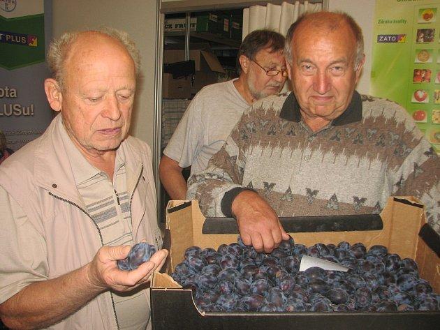 V poradenském stánku Unie ovocnářů severočeského regionu se držovický sadař Jaroslav Boček (vpravo) sešel s bývalým šlechtitelem Jiřím Boumou a vinařem Miroslavem Láskou.