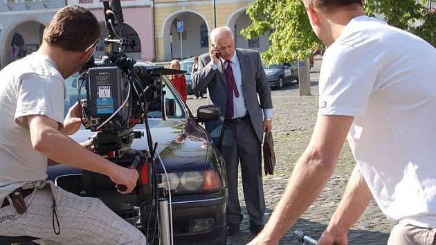 Natáčení na Mírovém náměstí v Litoměřicích.
