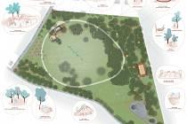 Návrh možné podoby připravovaného lesoparku za nákupní zónou v Roudnici nad Labem od ateliéru Land 05