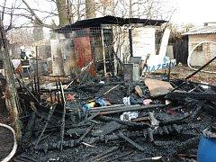 Požár zahradní chaty v Terezíně