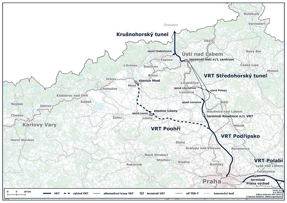 Napříč regionem je ve spolupráci s Německem připravována VRT Praha – Ústí nad Labem – Drážďany. V úseku Praha – Litoměřice/Lovosice bude sloužit pro osobní dopravu, ve zbývajícím úseku také pro dopravu nákladní.V pozdější fázi rozvoje sítě VRT může dojít