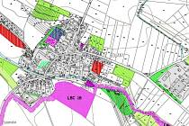 Projednávaná varianta územního plánu Solan. Zemědělský areál holandské společnosti, kde by farma měla být zbudována,  je šedá plocha zcela vpravo, nachází se nedaleko kaple.