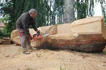 Řezbář opět pracuje v areálu zámeckého parku v Libochovicích. Z kmene stromu, který podlehl vichřici bude nyní dvojlavička.