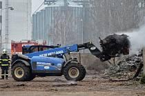 Požár kompostu v Prosmykách