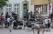 Natáčení hollywoodského štábu v Úštěku.