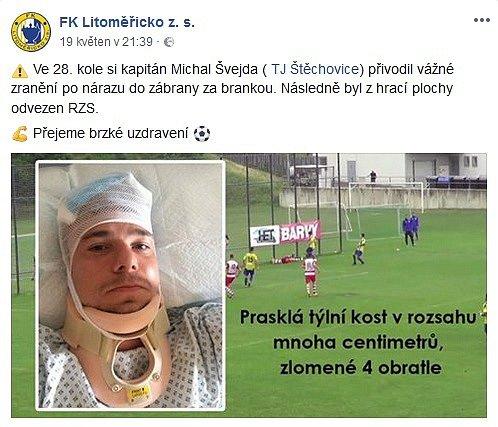 Kaňkou zápasu bylo vážné zranění štěchovického kapitána.