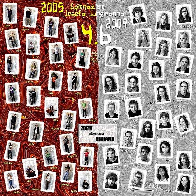 Maturitní tablo studentů 4.B Gymnázia J. Jungmanna v Litoměřicích.