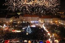 Slavnostní rozsvícení vánočního stromu v Litoměřicích - ohňostroj