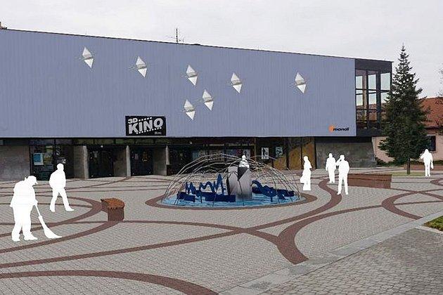 Vizualizace nové kašny před kinem ve Štětí