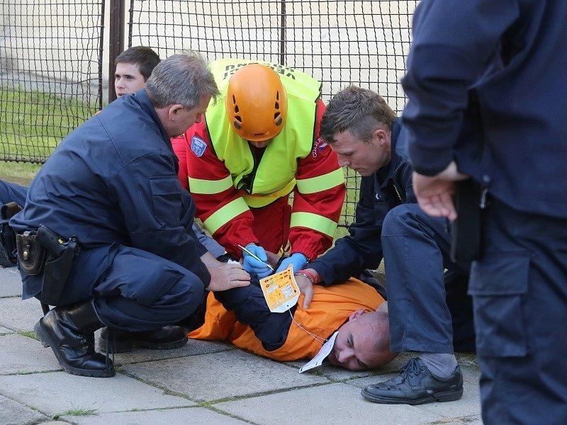 Cvičení IZS - požár v litoměřické věznici.