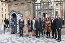 Zástupci města Litoměřice, kteří se zúčastnili slavnostního aktu ve Španělském sálu Pražského hradu.