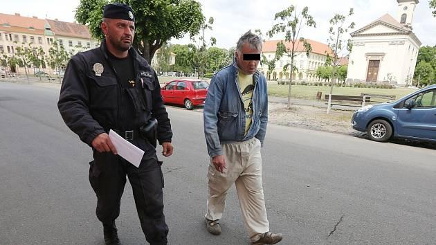 DOHLED NAD VEŘEJNÝM POŘÁDKEM je jedním z úkolů strážníka Tomáše Rotbauera v jeho novém působení v Terezíně. Na snímku odvádí muže, který močil před lidmi přímo na náměstí. Rotbauer je stále k zastižení na telefonním čísle 602 286 168.