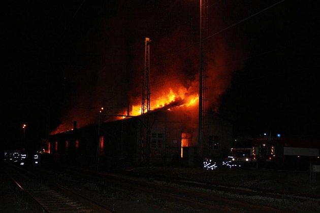 Požár truhlárny v Litoměřicích.