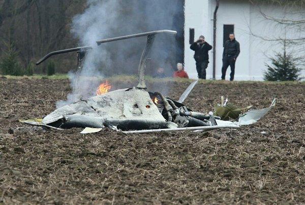 UBohušovic n. O. se zřítil vrtulník