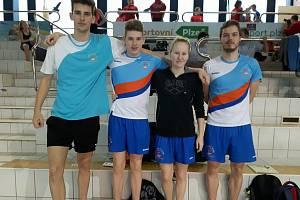 PK Litoměřice (zprava): trenér Štěpán Šetek, Adéla Kurcová, Vojtěch Netrh a Martin Kroufek.