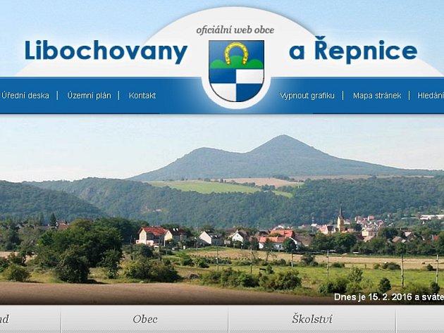 Homepage webových stránek obce Libochovany.