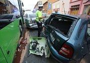 Ranní nehoda v Roudnici nad Labem.