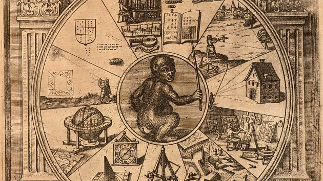 Jan Amos Komenský - Labyrint světa a Lusthauz srdce (Praha, Národní knihovna České republiky) - Město Labyrint, kolorovaná kresba rukopisu z roku 1623.