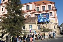 Protestní balónková akce proběhla v sobotu dopoledne v Litoměřicích.