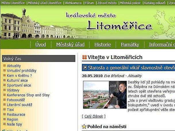 Webové stránky Litoměřic - ilustrační foto.