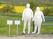 JEŠTĚ při zahájení výstavy venkovní výstavy soch klientů Diakonie byli Jára a Radka na chodníku vedoucím z Litoměřic do Žitenic spolu. Nyní ale Járu někdo ukradl.