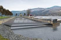 Vizualizace plánovaného přístaviště malých plavidel a stání pro osobní lodní dopravu u přívozu v Malých Žernosekách.