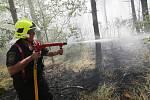Hasiči bojují s rozsáhlým požárem lesa u Račic