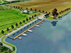 KORYTO ŘEKY je u Malých Žernosek užší, projekt proto počítá s vybudováním zálivu. Návrh přístaviště vytvořil architekt Patrik Kotas. Spolupracoval s Ondřejem Tomkem.