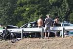 Při dopravní nehodě čtyř osobních automobilů u Řehlovic na dálnici D8 zemřel jeden člověk.