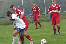 S KAPITÁNSKOU páskou odehrál zápas proti Duchcovu hrobecký Lukáš Štorc.