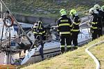 Výbuch lodi v Lovosicích.