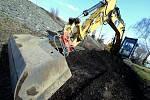 Stavební práce na cyklostezce u Křešic