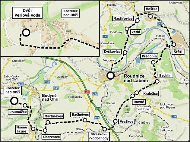 Trasa spanilé jízdy vrámci akce Historici vRoudnici, která se koná vsobotu 11.září společně sRoudnickým vinobraním.